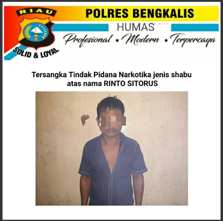 Pria Ini Berhasil di Cokok Polisi Bengkalis, Edarkan Sabu 95 Gram