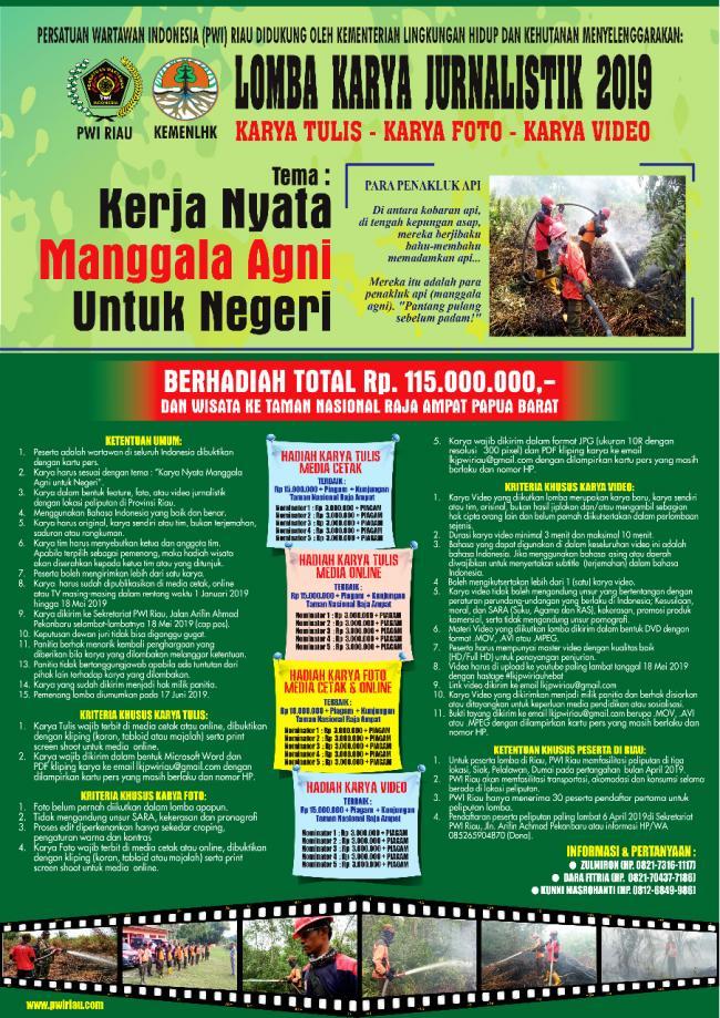 PWI Riau KLHK Gelar LKJ Berhadiah 115 Juta Rupiah
