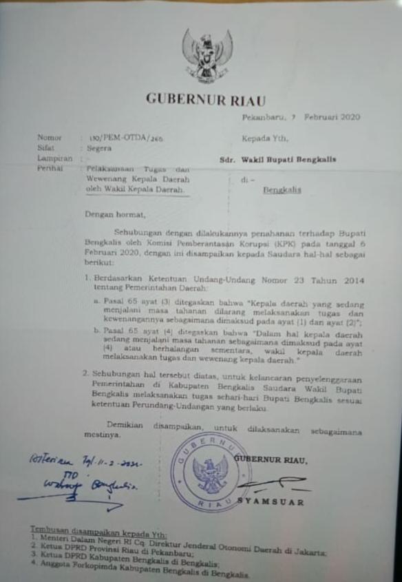 Pemerintah Provinsi Riau Mengeluarkan Surat Pelaksana Tugas Bupati Bengkalis