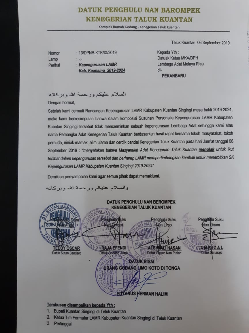 Empat Datuk Penghulu Kenegerian Teluk Kuantan, Sepakat Tolak Rancangan Kepengurusan LAMR Kuansing