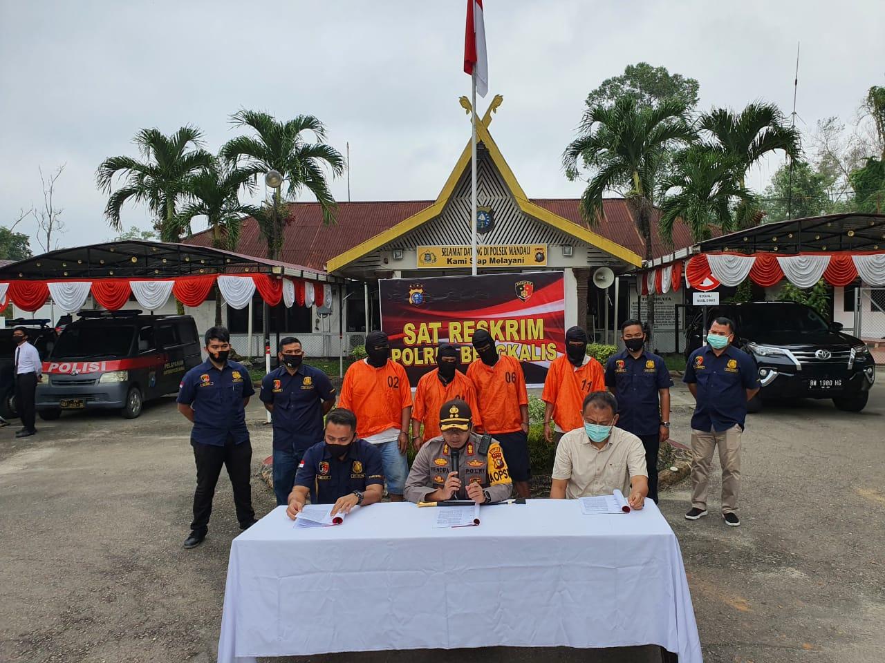 Tujuh DPO dan 4 Orang diduga Pencuri Besi Chevron Diringkus Polres Bengkalis
