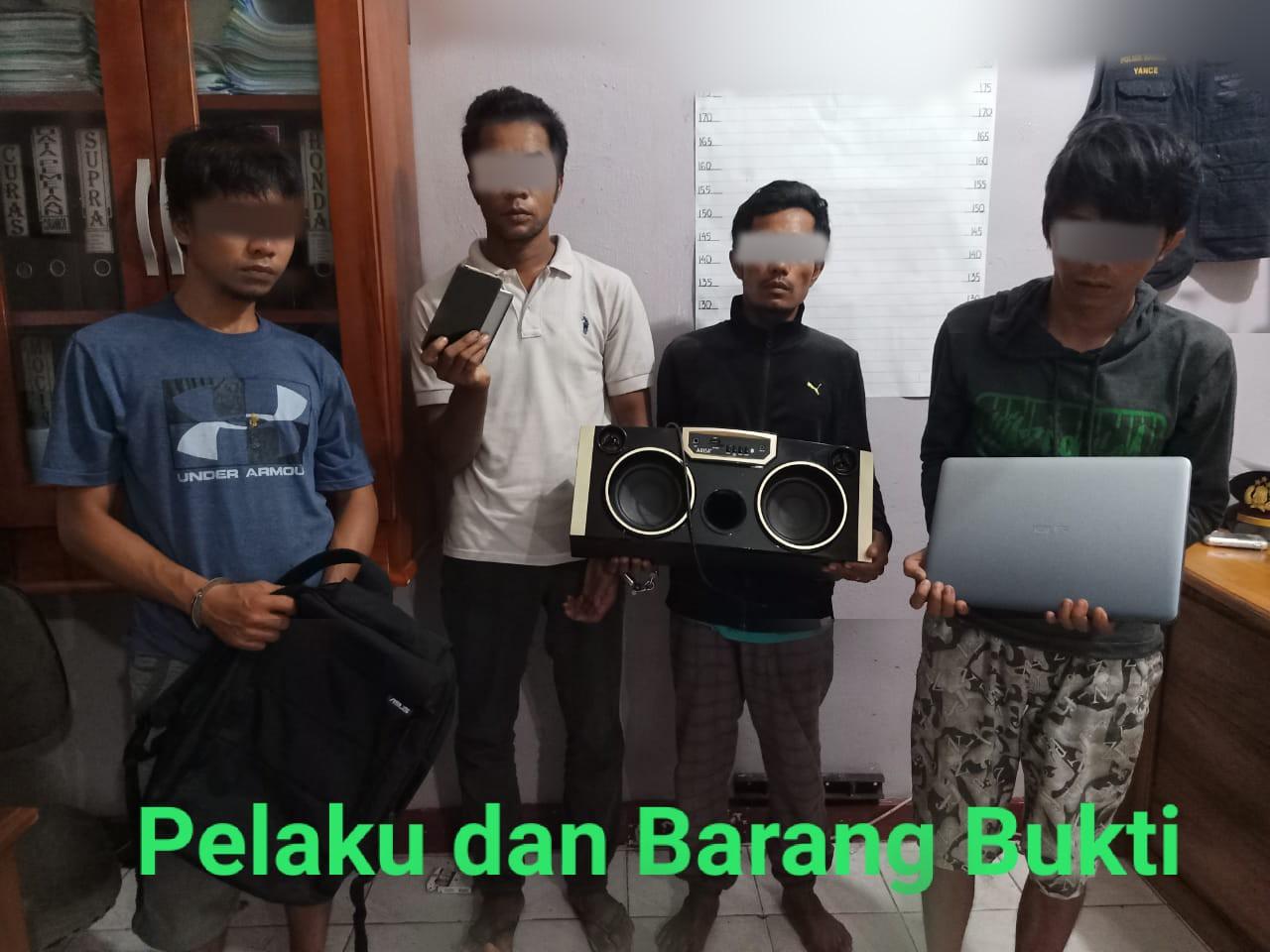 Polsek Mandau Gulung Empat Orang Maling Spesialis Rumah Kosong di Duri
