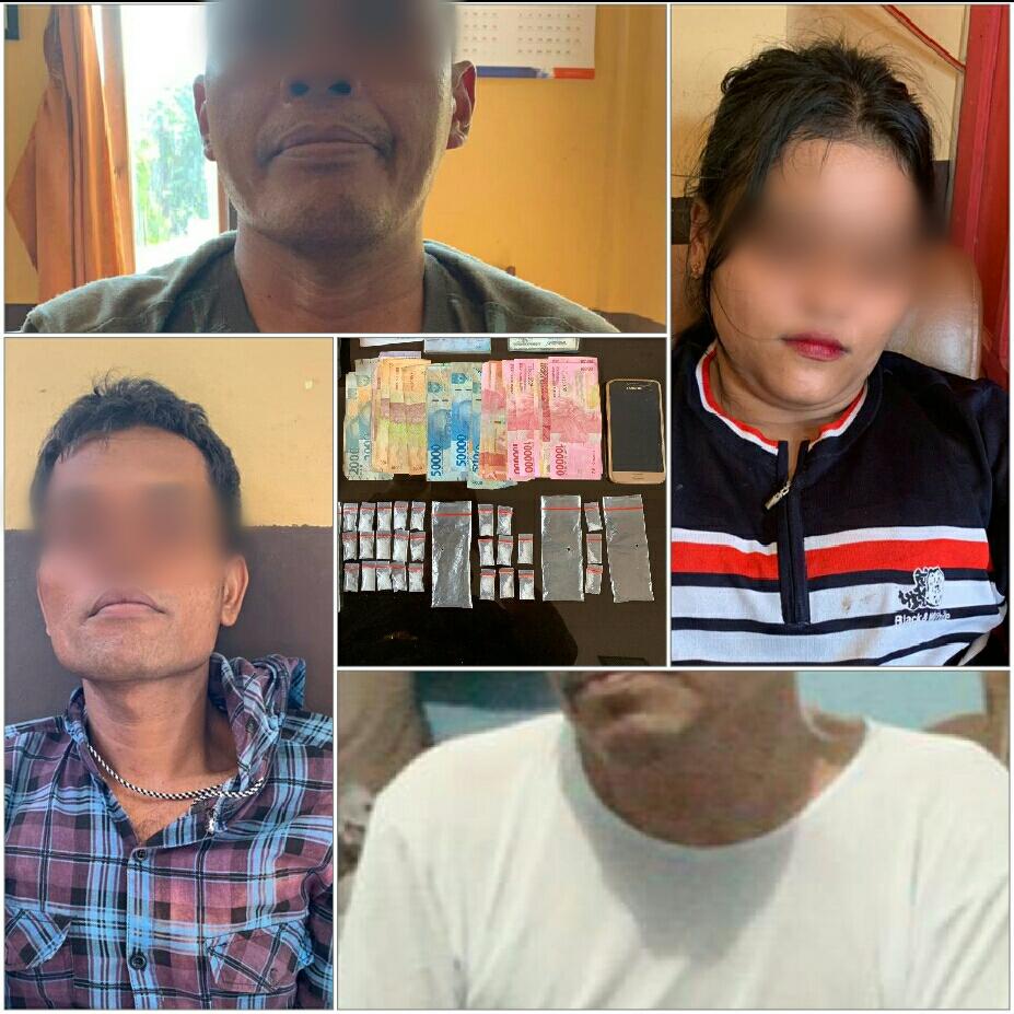 Opsnal Polsek Simpang Kanan ciduk 4 orang pemakai sabu