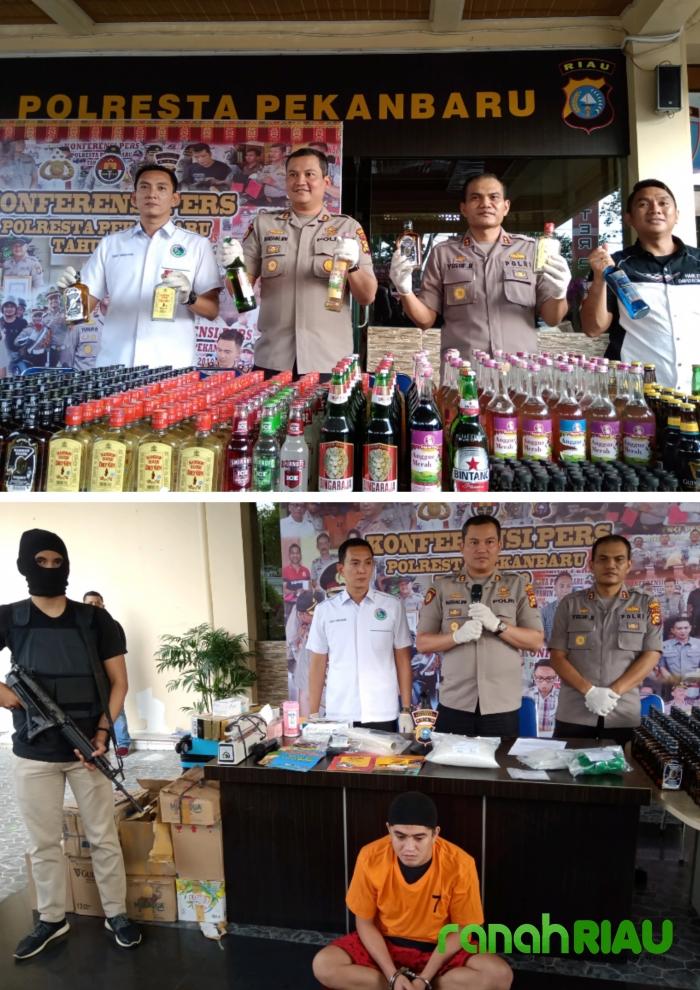 Polresta Pekanbaru ungkap penyitaan ribuan Miras dan Narkoba