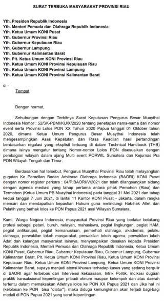 Menyikapi Kisruh Atlet Lolos PON XX PAPUA 2021 dan Keberpihakan PB Muaythai