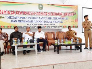 Kadin Riau isi Seminar kewirausahaan dan ekonomi Kreatif di Kampung empang Pandan