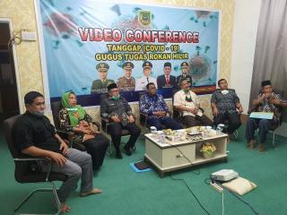 Rakor bupati Rohil lewat video conference