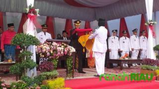 Kompol Arvin : Upacara Penurunan Bendera Di Mandau, Berjalan Lancar