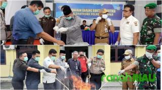 Polres Kampar Musnahkan Shabu dan Daun Ganja Kering dari 4 Hasil Ungkap Kasus