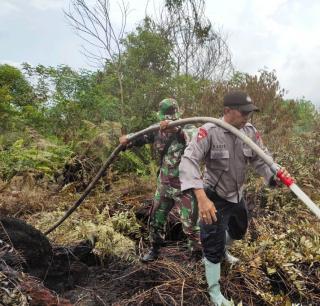 Bravo... Bareng Polsek Payung Sekaki lakukan pemadaman terhadap lahan yang terbakar