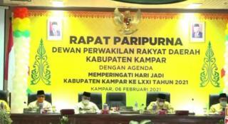 Meski Secara Virtual, Paripurna HUT Ke-71 Kabupaten Kampar Berlangsung Khidmat